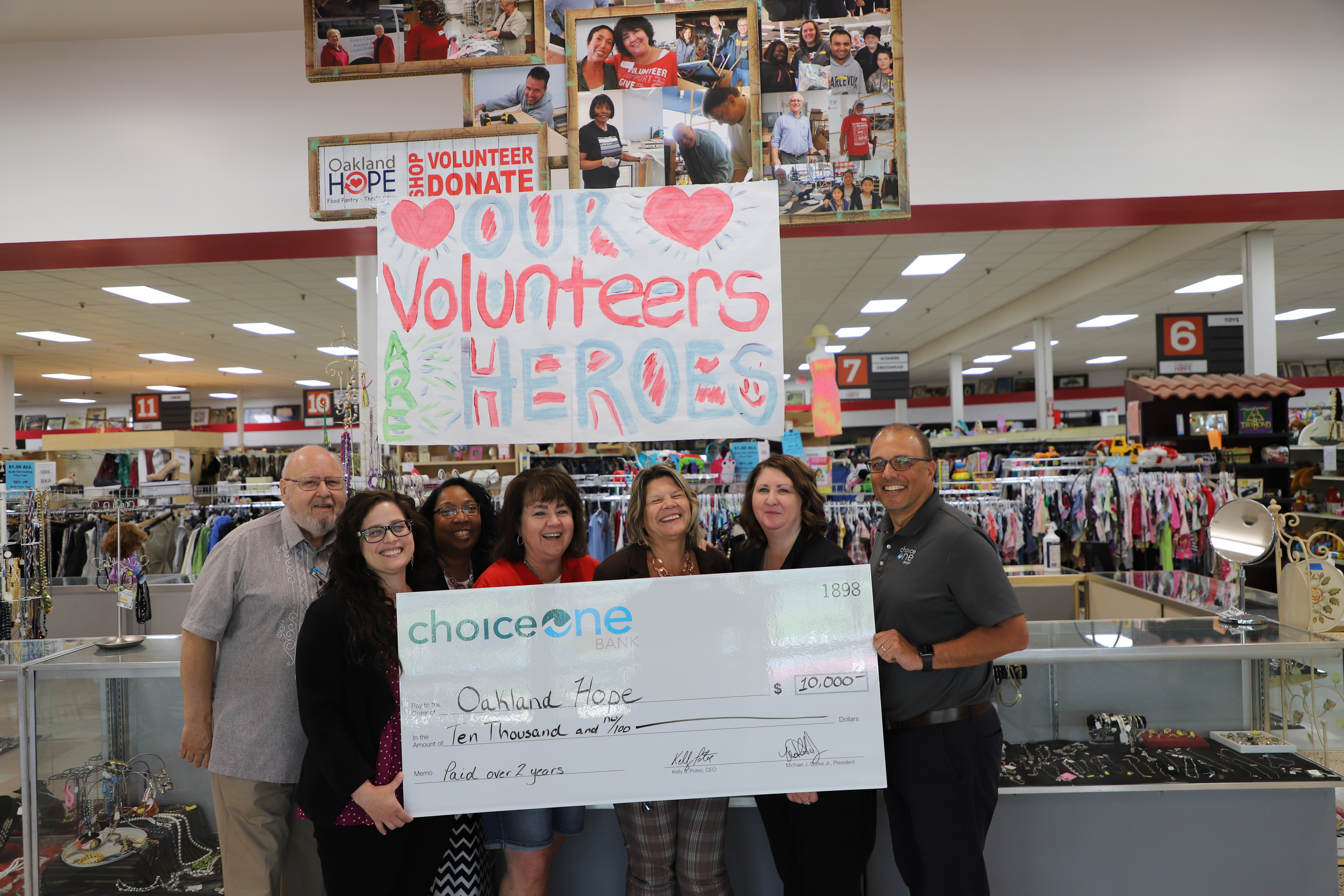 ChoiceOne delivers funds through check to Oakland Hope